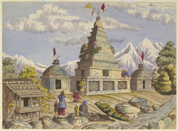 A 'Ghyang' or Buddhist Temple at Doomcha, near Goosainthau. Augt. 1854